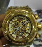 Wholesale Bolt Zeus - UNIQUE Invincible IN 13756 Reserve Bolt Zeus Men's Quartz Watch White Dial Gold S.Steel Band W R 200MT CHRONOGRAPH+ original box
