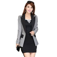Wholesale Long Suit Blazer For Women - women blazers and jackets slim Suit blazer Ladies One Button Office Clothing Blaser patchwork Color Long Jackets for Female