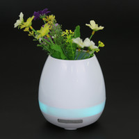 Wholesale Metal Vases For Flowers - 2017 Mini Smart Light Up Mini Waterproof Bluetooth Speaker Music Flower Pot Vase With Touch Sensor Wireless Plastic Player for Office Home