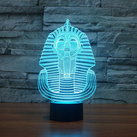 3D Egypte sphinx Pharaoh Lamp 3D Night Light Table Lampe de bureau à illusion optique 7 couleurs Changing Lights