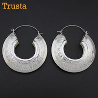 "Wholesale Bright Charms - Wholesale- Trusta 2017 New Bright Silver Hallow Out Stuff 2.2""X2.5"" Vintage Style Charm Hoop Earrings Unique Women's Jewelry AD07"