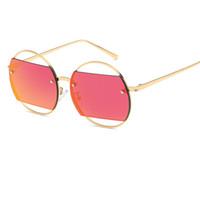 gafas estilo rana al por mayor-Gafas de sol de señora Unique Slice Style de aleación de gran tamaño Frame Gafas de sol para mujeres Diseñador de la marca Frog Mirror Shades Oculos Feminino UV400 Y73