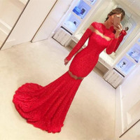 Wholesale Top Fashioned Designs Dresses - Red Lace Evening Dresses High Neck Long Sleeve Floor Length Mermaid 2017 Fahsion Design Formal Dress Party Gowns Top Fashion
