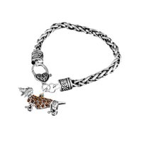 Wholesale Cheap Charms Online - Online Cheap Cute Greyhound Charm Bracelets Wheat Chain Stainless Steel Charm Bracelet