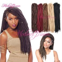 Wholesale Goddess Hair Wholesale - 18'' synthetic Fauxlocs Crochet Hair 24Roots Faux Locks Crochet Braid hair Extensions 100g Goddess Faux Locs Crochet Hair Soft Dreadlocks