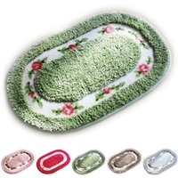 Wholesale Oval Carpets - New Design Pastroal Style Oval Floor Rugs and Carpets Water Absorbent Non-Slip Doormat Carpet Kitchen Bedroom Bath Mat JI0057