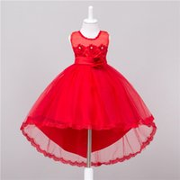 Wholesale Tail Dresses For Summer - Kids Girls Lace Dresses 2017 Baby Girl Bridesmaid Long Tail Dress Infant Princess Tulle Bow Wedding Dress for Party Children Clothing S830
