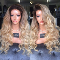 Wholesale Two Tone Blonde Ombre Hair - Free part body wave synthetic lace front wig Heat Resistant Hair Synthetic Long Black Ombre Blonde Glueless Lace Front Wig Two Tone Color