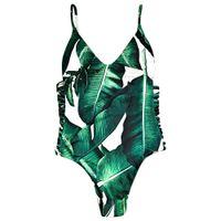 Wholesale Seductive Wear - Bikini Women Palm tree charmma seductive bikini set braided cami set two-piece women's swimwear push up bikini swimsuit beach Beach Wear +B