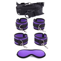 Wholesale Adjustable Fetish Under Bed Restraint Kit with HandCuffs and Ankle Cuff Bed Bondage with Blindfolder Bed Straps Adult Games for couples SM