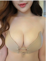 Wholesale Gathers Dress - Invisible bra straps without strapless underwear wedding dress chest stickers gather silicone latex pull Lara goddess bra A B C D cup 242