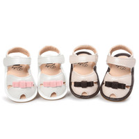 Wholesale Cute Heels Bows - Newest Baby Girls Princess Bow Cute Sandals Soft Sole First Walkers Bowknot Shoes Kids Hollowed-out Prewalker