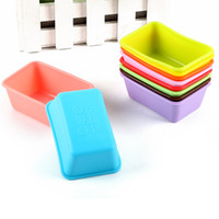 Wholesale Small Cupcake - 200 Pieces Rectangle Silicone Small Loaf Pan Silicone Muffin Baking Cups Cupcake Mold