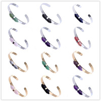 Wholesale Amethyst Stone Colors - Trendy hexagon prism Natural stone Quartz Cuff Bangles Women bullet point Amethyst Crystal Agate Bracelets Various colors Gold Silver Plated