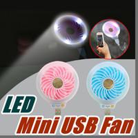 Wholesale Beauty Night Wholesale - 2017 Style Mini portable Small USB Led fan Without battery USB small fans luminous night light beauty fill light multi-purpose type B-USB