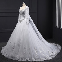 Wholesale Tube Long Gown - Long Sleeve Bandage Tube Top Crystal Luxury Wedding Dresses Appliques Beaded Wedding Gowns 2017 Custom made