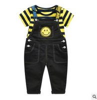 Wholesale Bib Overalls For Boys - Kids Suspender T shirt Overalls Set For Baby Girls Boys Summer Clothes Striped Tops Bib Overalls Trousers with Braces Cute Design Tees