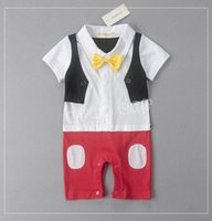 Wholesale Baby Tuxedo Rompers Overalls - Baby Boys Rompers Cartoon Mouse Bow Dots Tuxedo Short Sleeve Summer One Piece Jumpsuits Overalls Toddler Clothes E12539