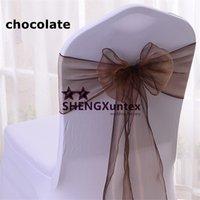 couleur organza chocolat achat en gros de-Chaise en chocolat Organza Chair Sash utilisée pour Spandex Chair Cover \ Wedding Chair Sash