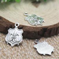 Wholesale Fleur Lis Silver Pendant - 20pcs- Fleur De Lis Charms , Antique Tibetan silver Fleur De Lis Charms Charms pendants 16 x 18 mm