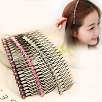 Wholesale Korean Wigs Women - Woman headdress hair Colorful plaid (jewelry) comb hair comb hair bangs Korean imitation diamond with tooth clip S0053