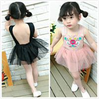 Wholesale Tutu Rompers For Girls - Girls Baby Rompers Jumpsuits Tutu Dress for Toddler Princess Children Kids Summer Backless Embroidery Onesies Rompers Jumpsuits TUTU Dress