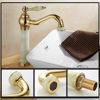 Wholesale Top Faucet Styles - European Style Single Hole Bathroom Sink Faucet With Jade Painting 360 Rotatable Bathroom Vessel Sink Faucet