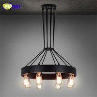 land lampen wohnzimmer großhandel-FUMAT Round Iron Hanglamp Industrie Vintage Bar Hängeleuchte American Country Retro Lampe Esszimmer Wohnzimmer Glanz