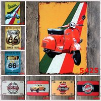 Wholesale American Poster - Vintage Motorcycle Iron Painting Route US 66 Tin Poster American Ould Routes Metal Tin Sign Costom Feeling For Home 20*30cm 3 99rjT