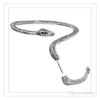 Wholesale Long Earrings Leave Cuff - 2017 Hot Temptation Snake Earring Left Ear Cuff Silver Sexy Twine Wind Temptation Long Snake Stud Earring The Lowest Price Free DHL