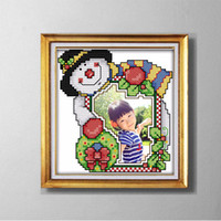 Wholesale stitching kit set resale online - Christmas photo frame lovely cartoon painting counted printed on canvas DMC CT CT Cross Stitch Needlework Set Embroidery kit