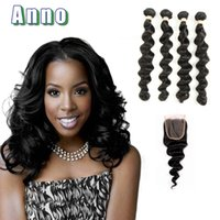 Wholesale Brazillian Loose Wave Unprocessed Hair - 2017 Rushed Promotion Brazilian Loose Wave With Closure 4 Bundles Virgin Brazillian Hair With Grade 7a Unprocessed With