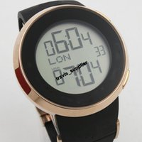 Wholesale Led Display Belt Buckles - 2017 Hot Good Black Rubber belt new style date Stainless steel wristwatch men watches Fashion Big LED Quartz Luxury sports Men's Watches