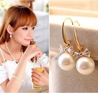 Wholesale Great Pearl Earring - High-grade Bowknot Earrings Stud With Zircon Great Pearl Charms Jewelry Hot Style for Fashion Women Wedding Party dress up Earrings