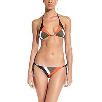 Wholesale String Maillot - 2017 NEW Sexy Brazilian Bikini String Lace Up Color block Bathing Suit Halter Women Swimwear Swimsuit Trikini maillot de bain