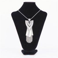 Wholesale Metal Heart Ornaments - Metal Tassels Necklace Pendant For Female Shield Heart Shaped Pattern Colar Gothic Wind Crystal Rhinestone Necklace Ornaments