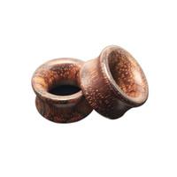 Wholesale Ear Plug Body - 1 Pair =2 pcs Men Women Brown Rose Wood Ear Expander Vintage Ear Tunnels Gauges Piercing Ear Plugs Body Jewelry 8mm - 20mm