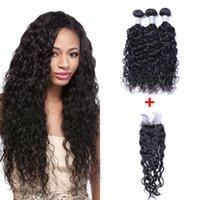 doğal insan saç kapatmaları toptan satış-Brezilyalı Doğal Dalga İnsan Virgin Saç 4x4 Ile Dantel Kapatma Ağartılmış Knot Ile Örgüleri 100 g / adet Doğal Renk Çift Atkı Saç Uzantıları