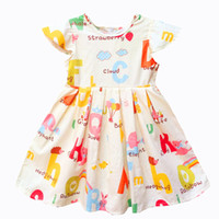 Wholesale Cute Chinese Girls - Kseniya Kids Baby Girls Clothes Baby Girl Summer Princess Party Cute Cotton Dress Kids Dresses For Girls Flower Cartoon Pattern Girl Dresses