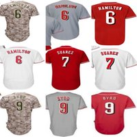Wholesale mens camo shorts - Custom Mens Womens Kids Toddlers Cincinnati 6 Billy Hamilton 7 Eugenio Suarez 9 Marlon Byrd White Red Gray Camo Stitched Baseball Jerseys