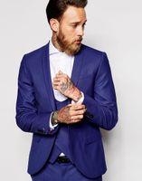 Wholesale royal blue vest l - Wholesale- Custom Made Groomsmen Shawl Lapel Groom Tuxedos Royal Blue Men Suits Wedding Best Man Blazer (Jacket+Pants+Tie+Vest) B985