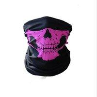 máscara del cráneo del motorista al por mayor-Máscara de banda para la cabeza del cráneo de la media cara de la bufanda del pañuelo motocicleta de la bici bufandas de la bufanda de cuello de la mascarilla del ciclo de Cosplay del esquí del motorista diadema
