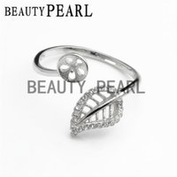 Wholesale Bulk 925 Rings - Bulk of 3 Pieces 925 Sterling Silver Zircon Hollow Cut Leaf Ring Blank Pearl Ring Mount