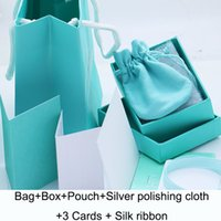 Wholesale jewelry packaging bracelet box packing - Hot sale Branded famous brand necklace bracelet package set with original handbag and velet bag jewelry gift box Blue color packing box