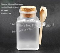 Wholesale Wholesale Glass Baths - 10pcs lot 300g Square bath salt ABS Bottle, 300ml powder plastic bottle, bath salt bottle with wooden spoon