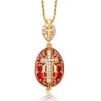 Wholesale Twist Piercing Jewelry - Hottest Jewelry Enamel Handmade Easter Jesus Cross Faberge Egg Pendant Charm Crystal Rhinestone Necklace piercing Gift To Women