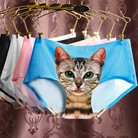 Wholesale Hot Woman Sexy Animals - Hot Fashion 3D Printing Cat Pattern Sexy Women Briefs Women Seamless pants Middle Waist Female Cotton Underpants