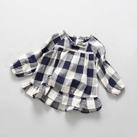 Wholesale Linen Style Clothing - 2017 Spring New Girl Dress Blue White Plaid Long Sleeve Linen Cotton Dress Children Clothing 2-7Y Q1626