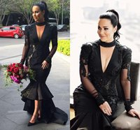 Wholesale Mermaid High Low Prom Dresses - Black Deep V Neck Prom Dresses 2017 Plus Size Halter Lace Appliques Evening Gowns Satin High Low Arabic Mermaid Party Dresses Custom Made