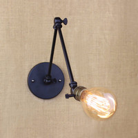 Wholesale Small Warehouses - light bulb long arm switch wall lamp warehouse loft American country retro industry Vintage iron Small Wall Lamps